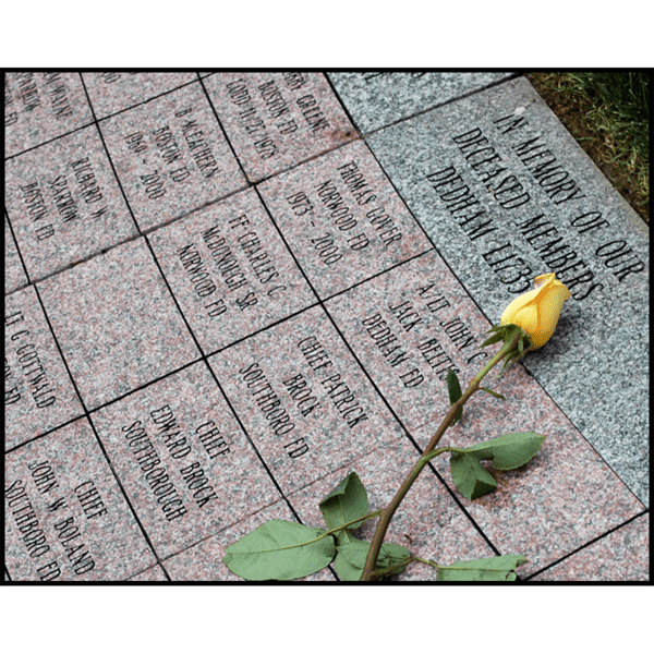 photo of brick and stone pavers with inscriptions and yellow rose laid on top