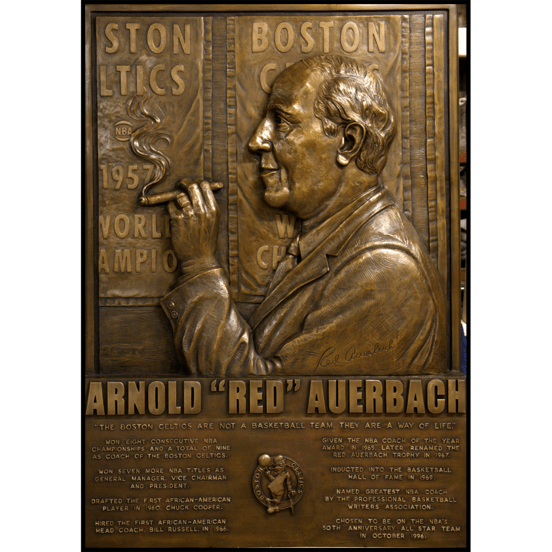bronze relief portrait sculpture of Celtics coach Red Auerbach