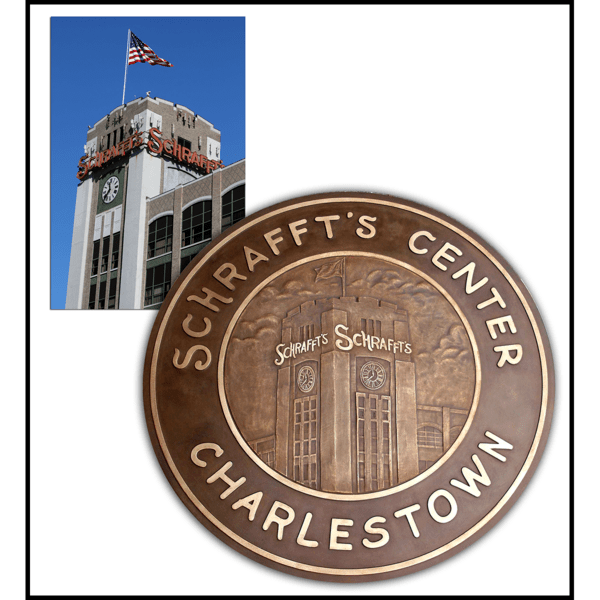 photo collage of Schrafft's building and bronze floor medallion with relief sculpture of Schrafft's building and text