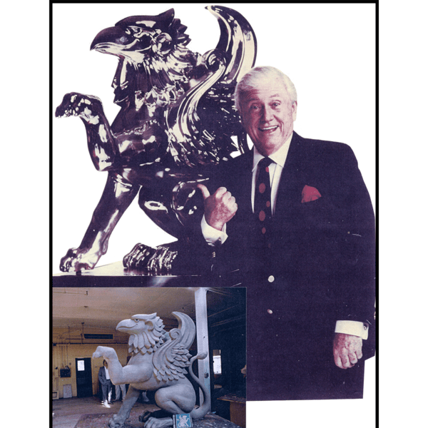 collage of two photos, one of griffin sculpture clay model in sculpture studio and one of Merv Griffin standing next to a finished copy with a bronze patina