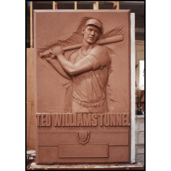 photo of clay relief sculpture of Ted Williams batting