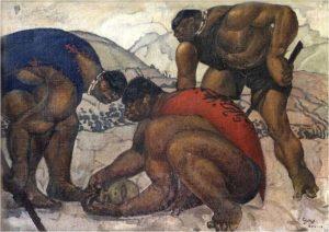 Tres indios tras la máscara del sol, Camilo Egas, 1925