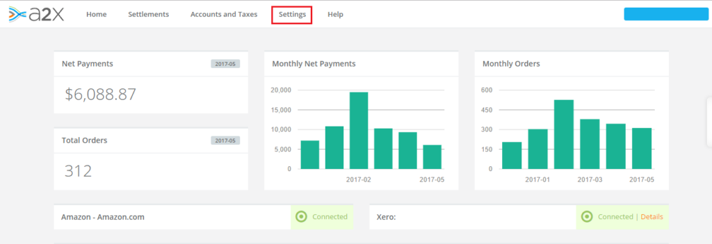 track inventory from A2X to Xero - Settings