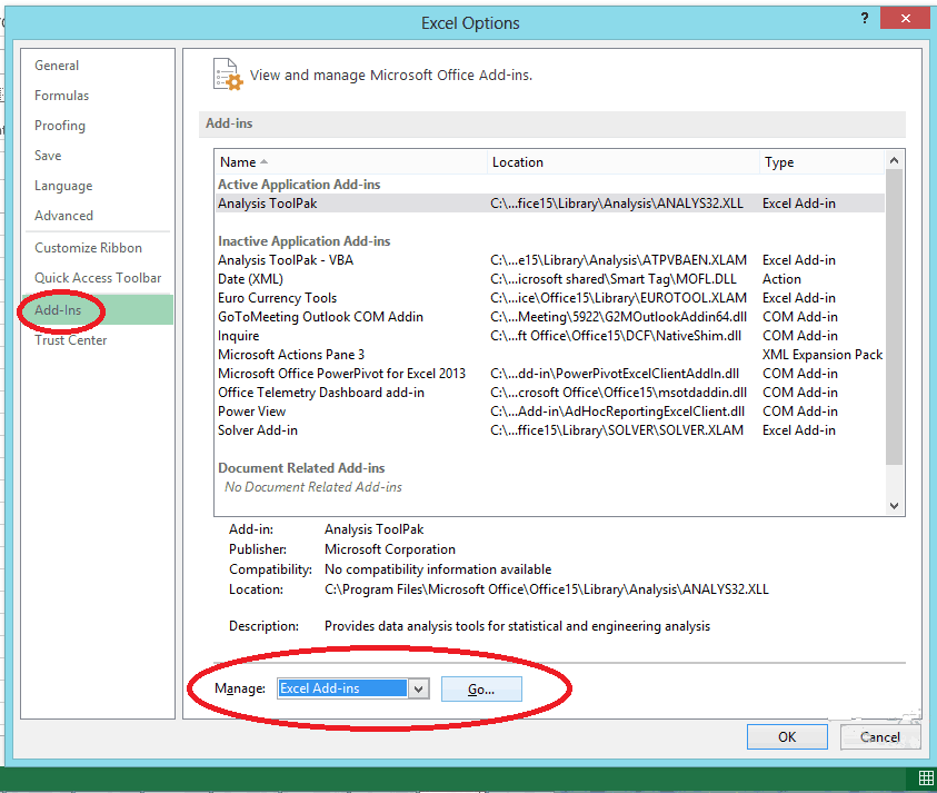 Excel Solver Add in - File Options manage add in