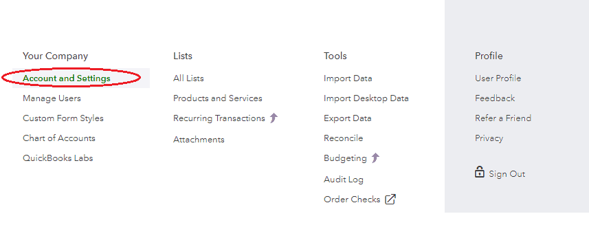 Quickbooks Online Accounts and Settings