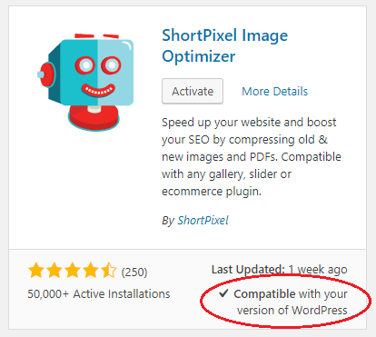 Wordpress 4.9 Error - shortpixel image optimizer-Compatibility