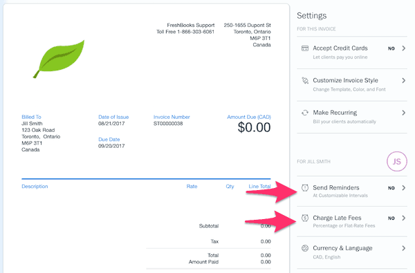 FreshBooks Payment Reminder Invoice