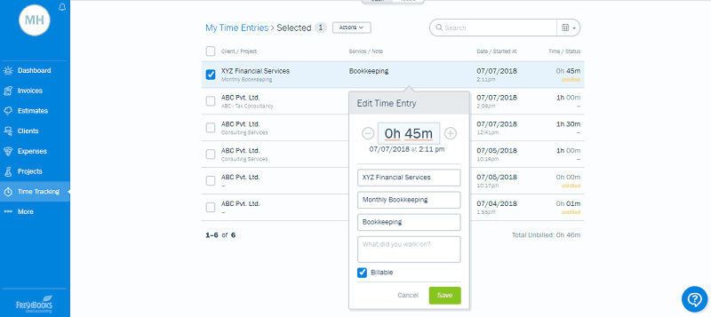 FreshBooks Start Manual Time Tracking