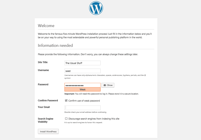 Wordpress Site Information