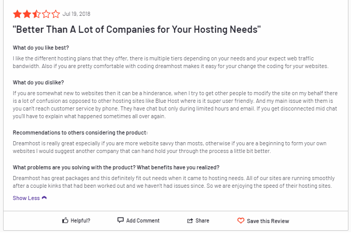 DreamHost - Mixed User Reviews - 1