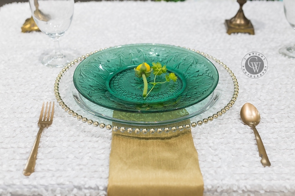 yellow and green wedding table