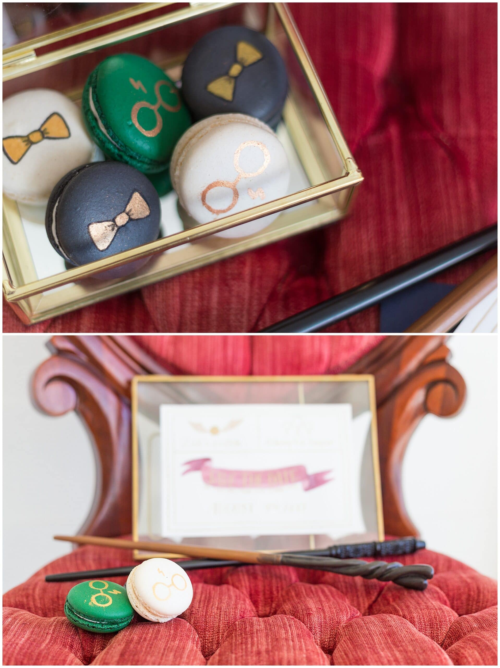 Harry Potter macrons made by Wink by Erica at the Grand Texana in Houston Texas photographed by Swish and Click Photography