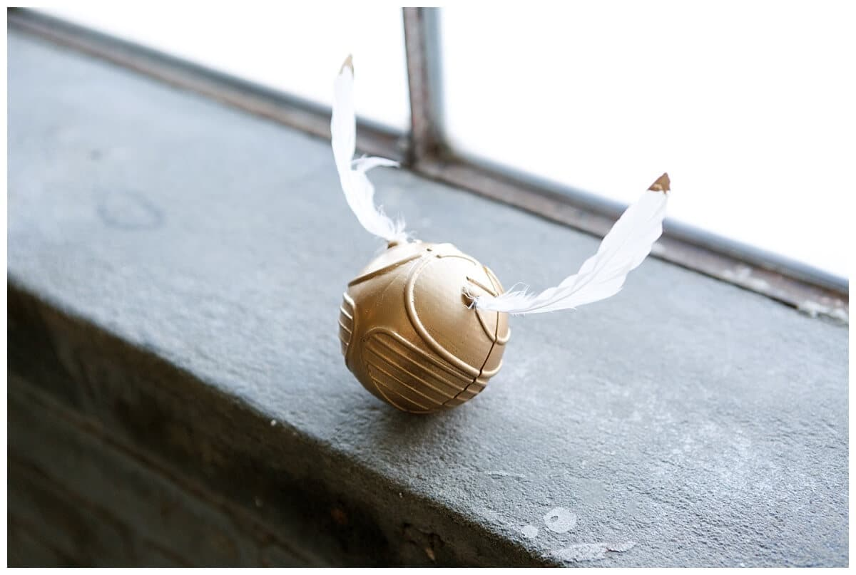 golden snitch ring box at a Harry Potter marriage proposal at the Houston Rental Studio in Houston Texas captured by Swish and Click Photography