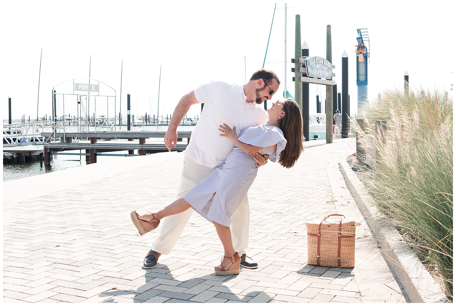 Texas Wedding Photographer | Sarah + Russell's Nautical Themed Engagement Session in Galveston