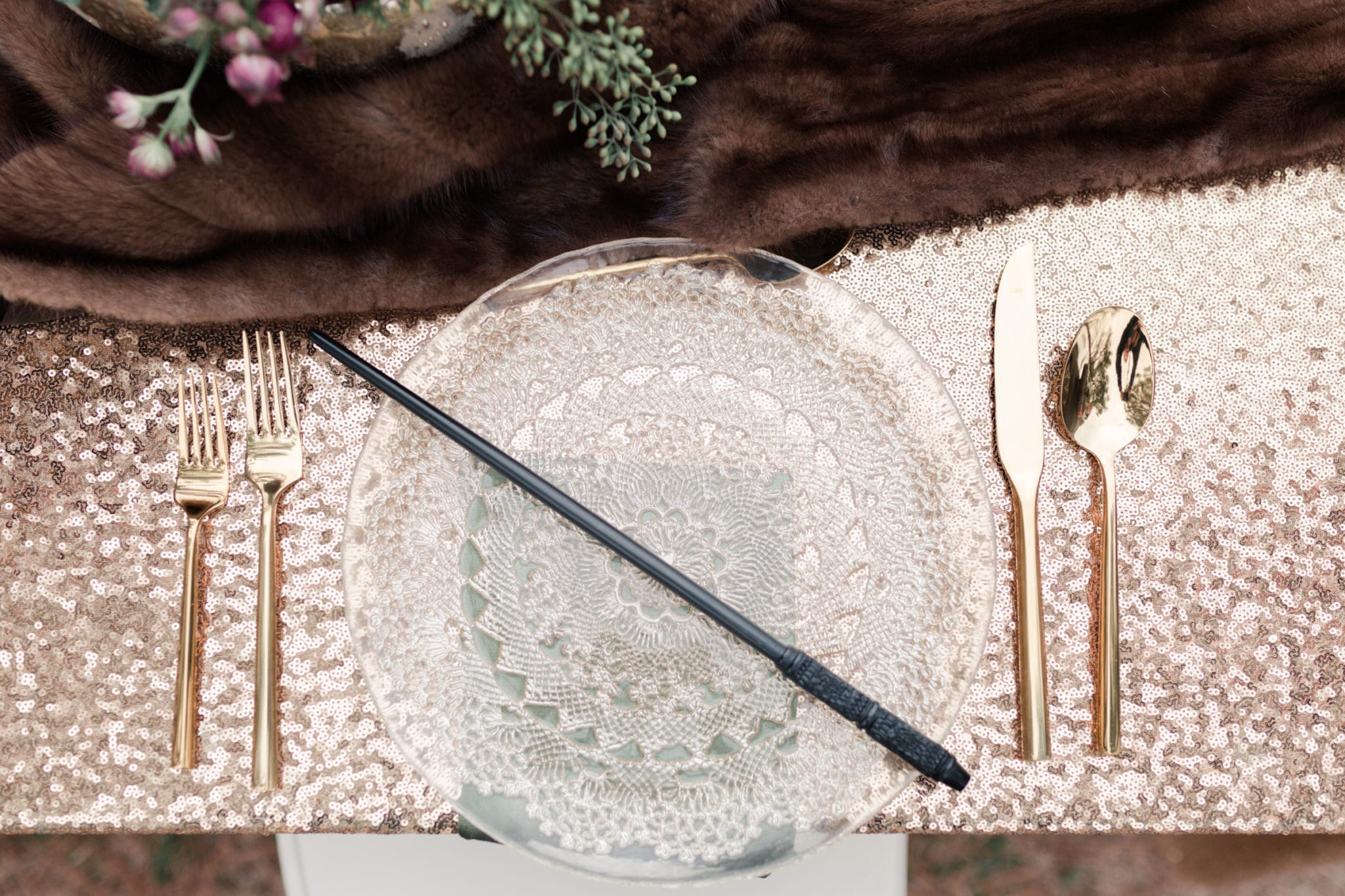 Harry Potter wand on a tablescape at Arrowhead Hill in Magnolia Texas captured by Swish and Click Photography