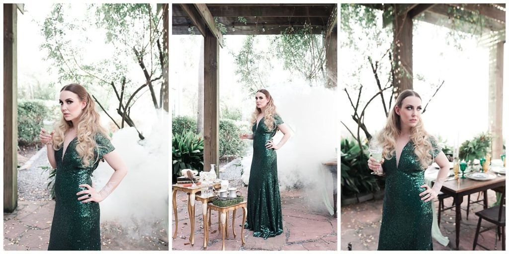 Slytherin inspired wedding at 5226 Elm Events photographed by Swish and Click Photography