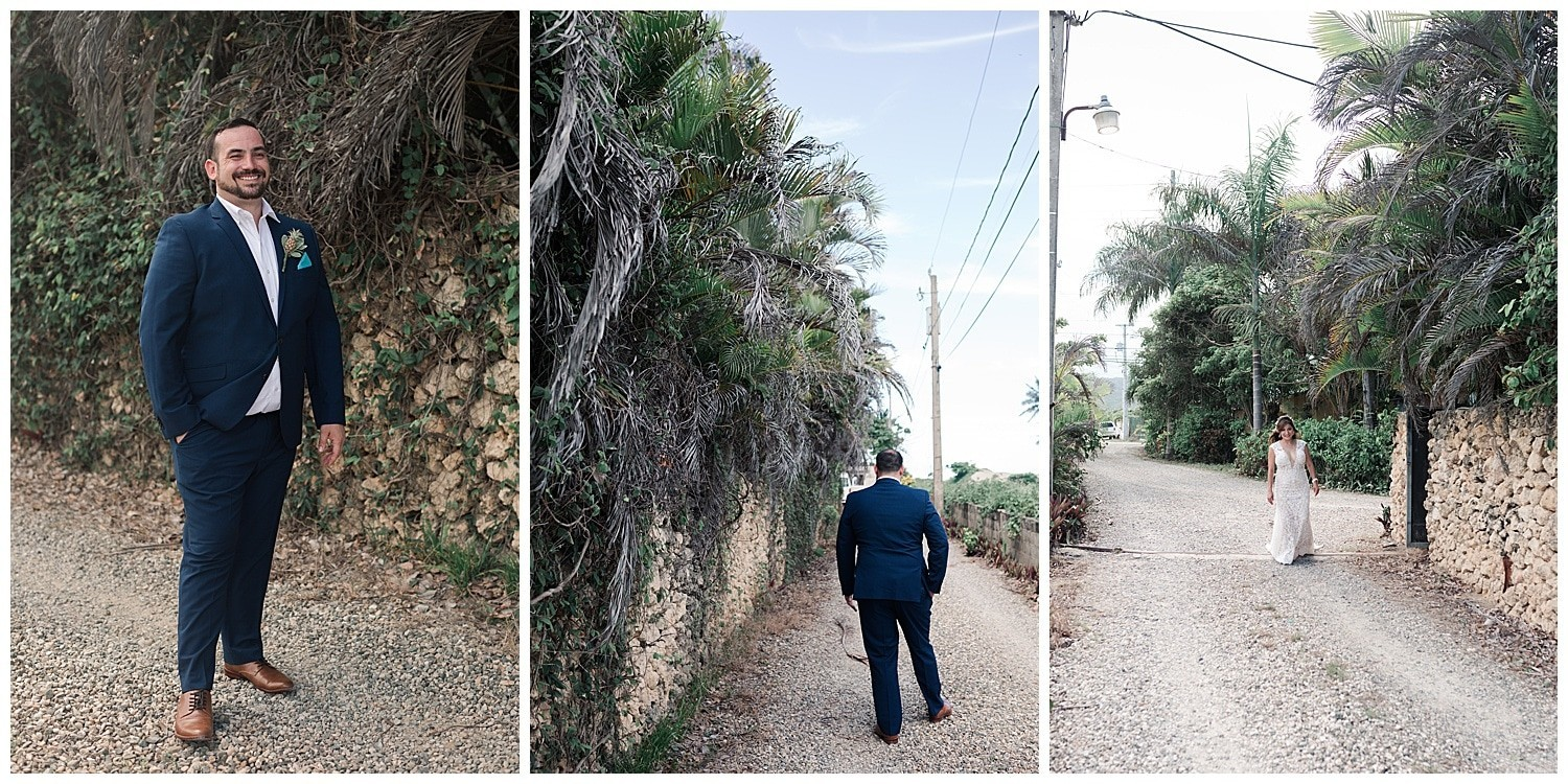 bride and groom first look at Villa Cocomar in the Dominican Republic by Swish and Click Photographer