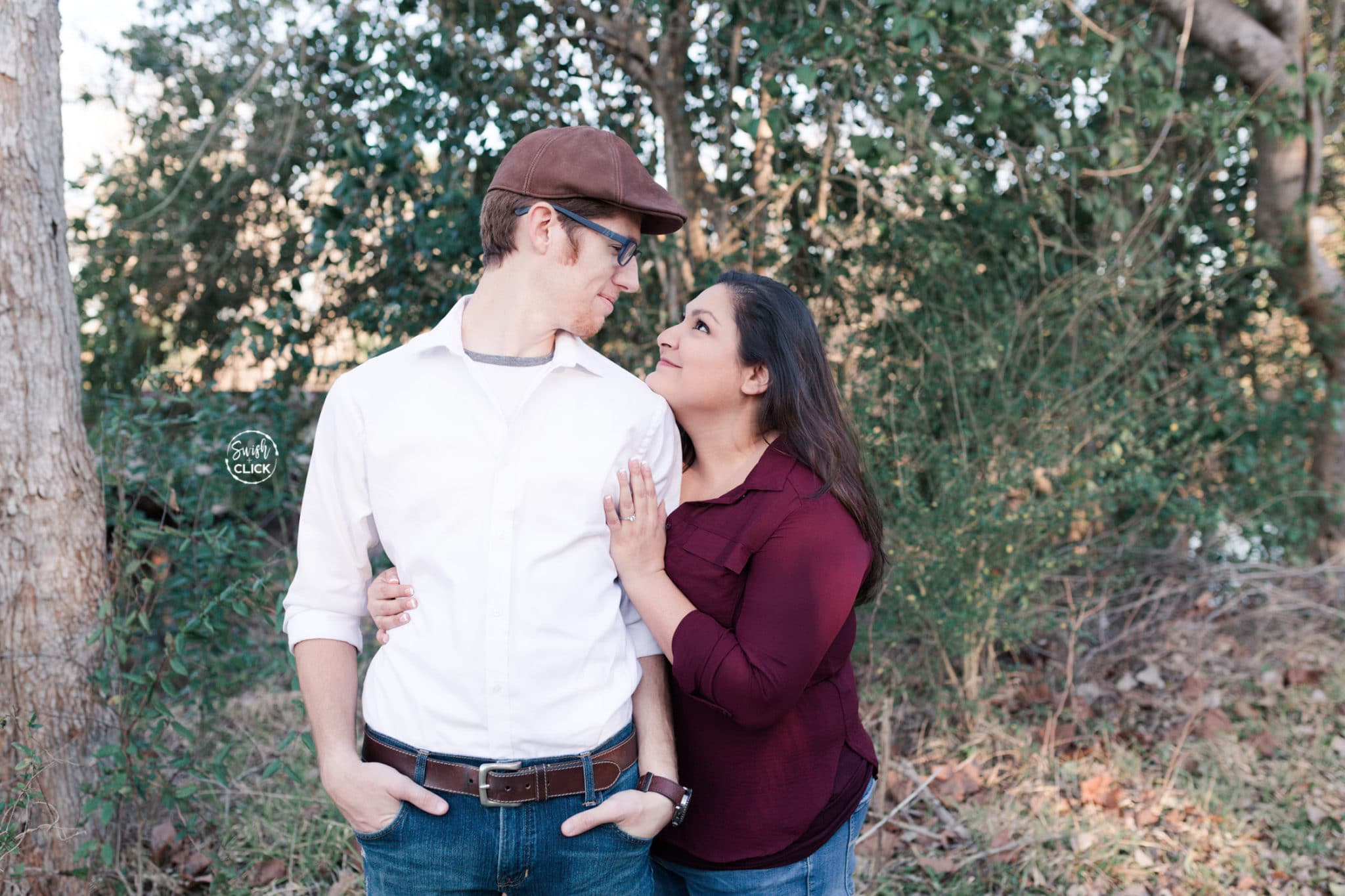 awesome engagement photos at a park in Houston Texas by Swish and Click