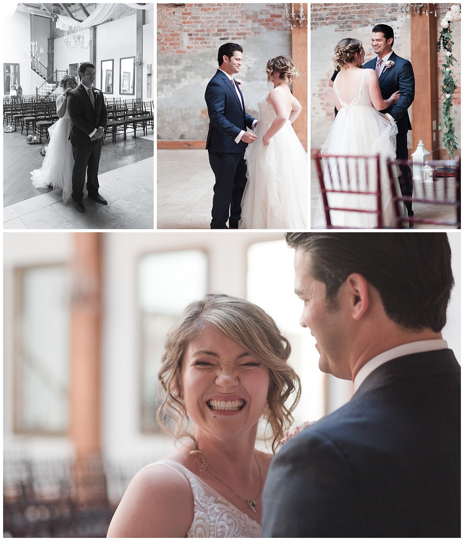 bride and groom first look at Thomas Bistro in New Orleans by Swish and Click Photography