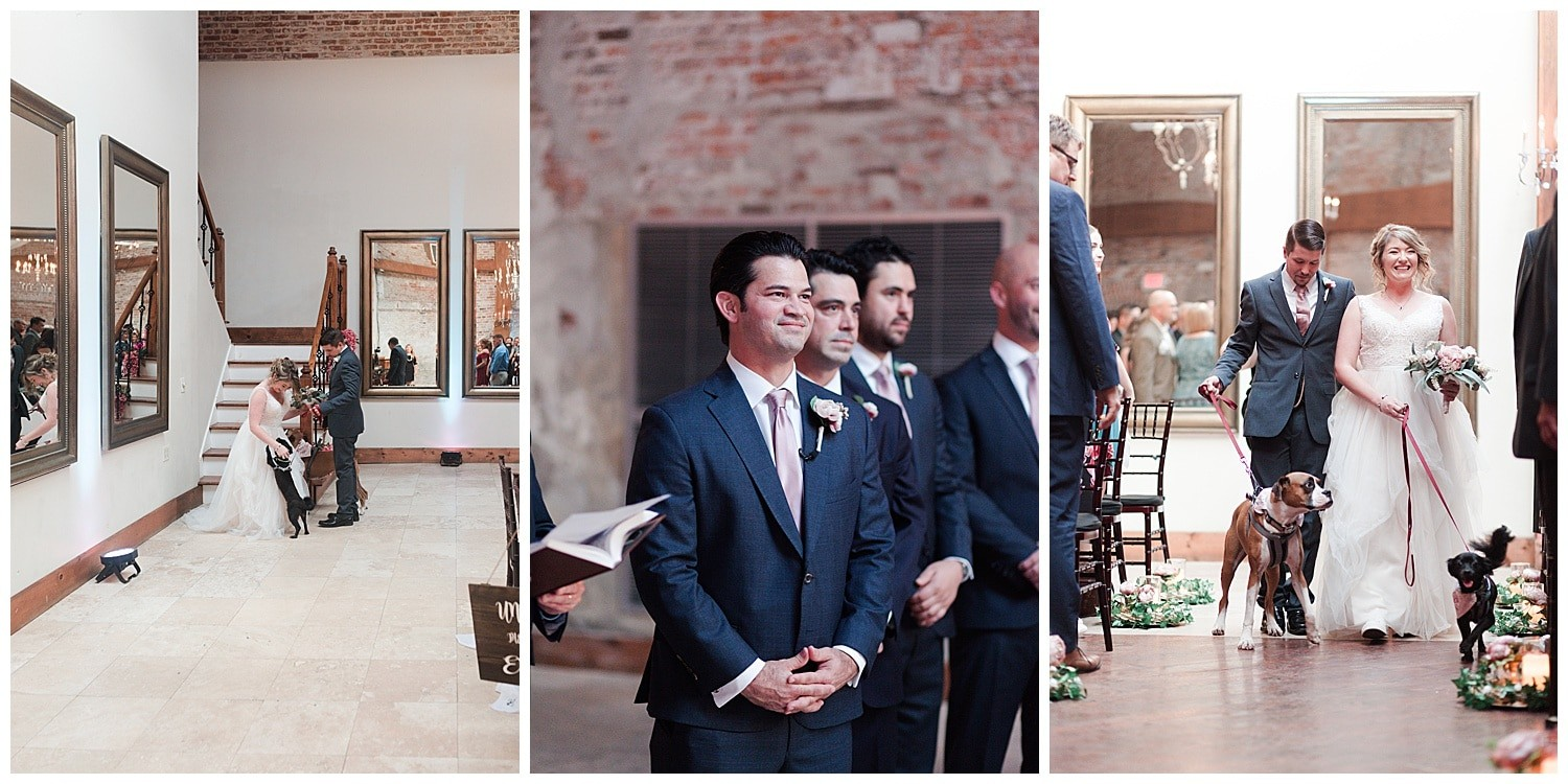 dog at wedding ceremony at Thomas Bistro in New Orleans by Swish and Click Photography