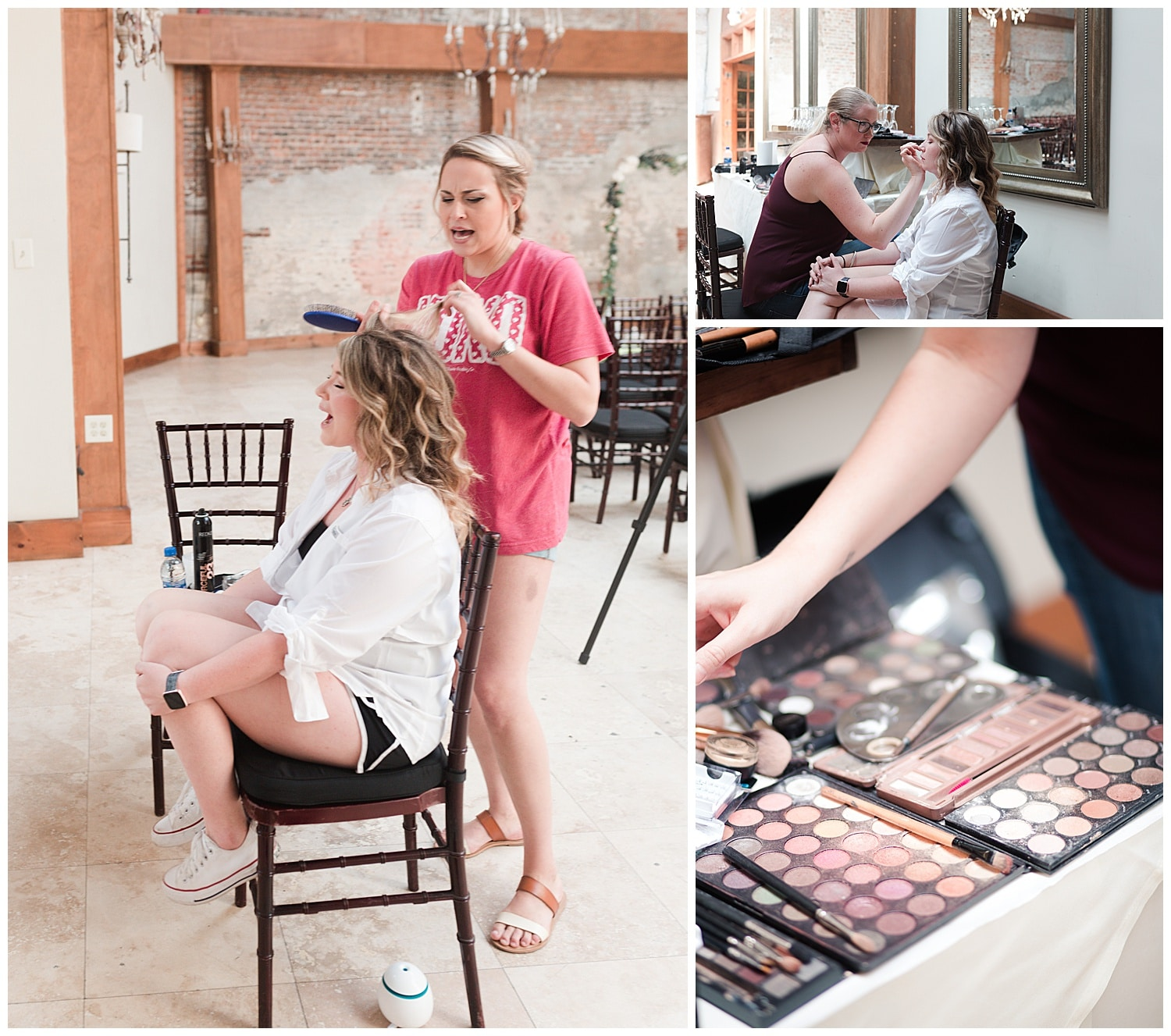 bride getting ready at Thomas Bistro in New Orleans by Swish and Click Photography