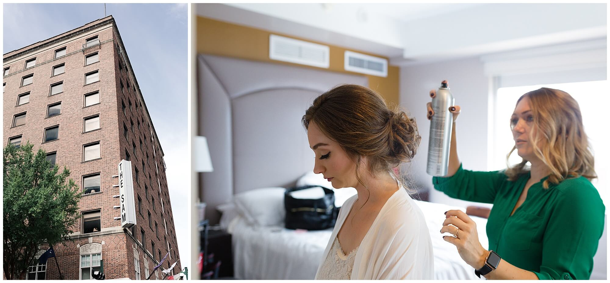 bride gets ready at Sam Houston Hotel in Houston Texas by wedding photographer Swish and Click
