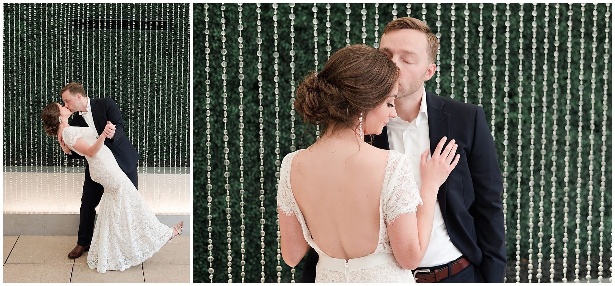 bride and groom first look at Sam Houston Hotel in Houston Texas by wedding photographer Swish and Click