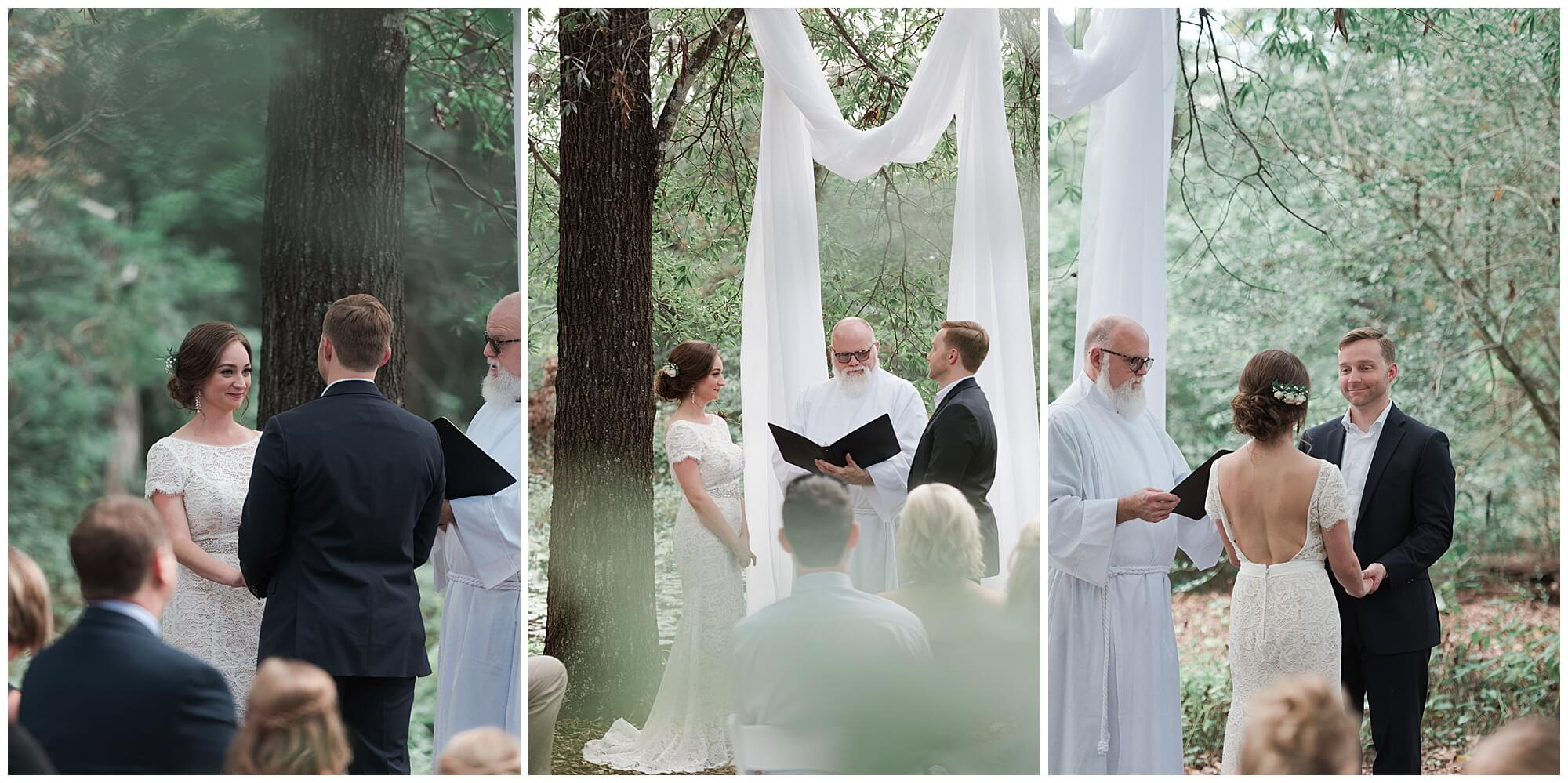 wedding ceremony at the Houston Arboretum in Houston Texas by wedding photographer Swish and Click