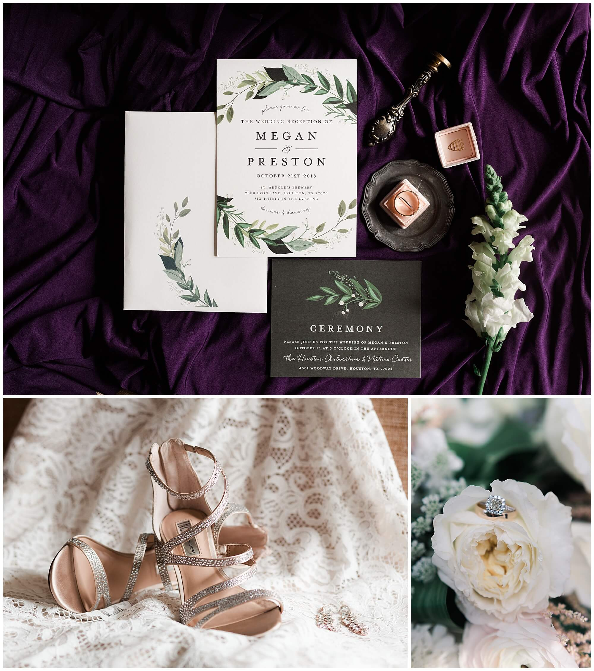 wedding details at Sam Houston Hotel in Houston Texas by wedding photographer Swish and Click