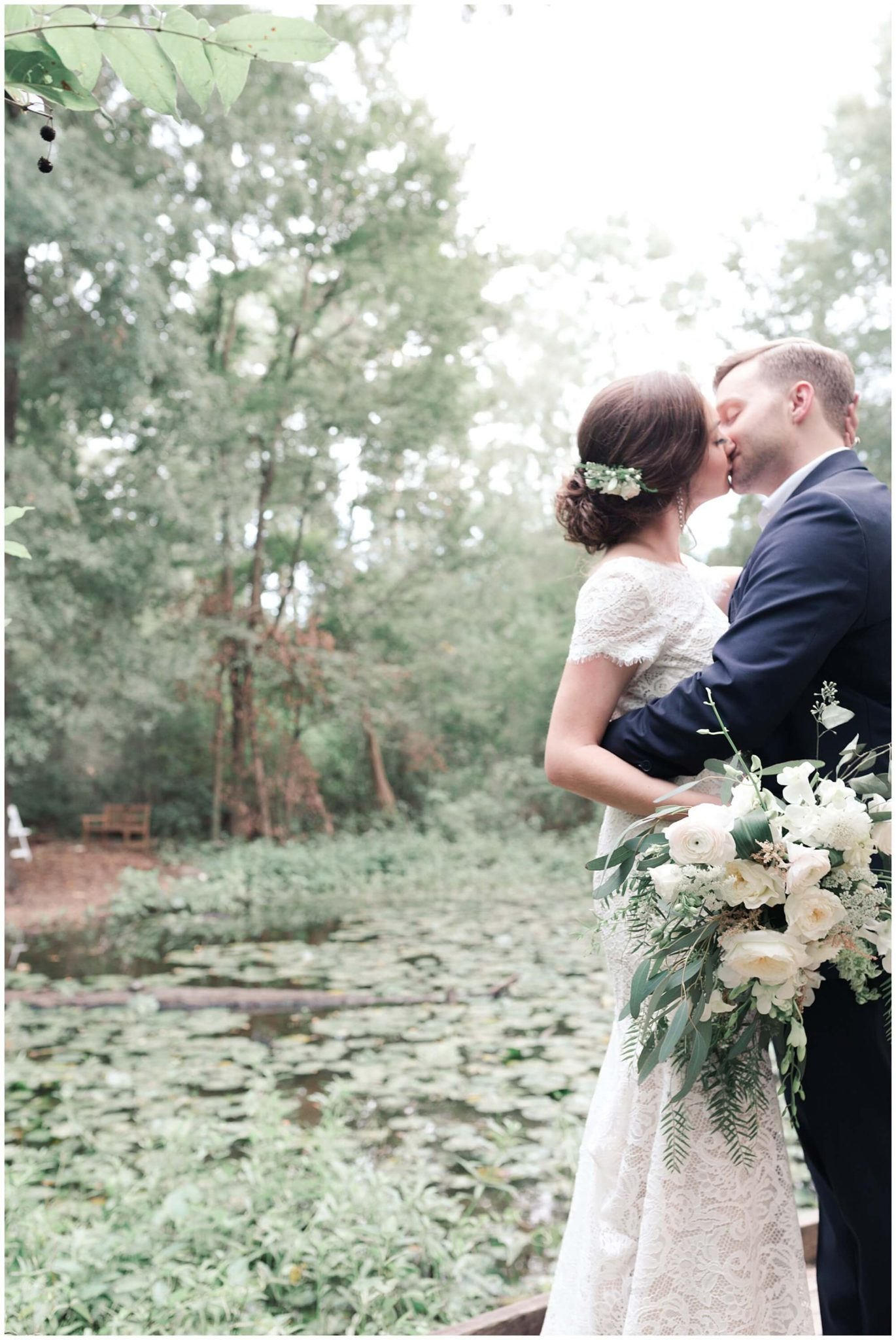 bride and groom portraits at the Houston Arboretum in Houston Texas by wedding photographer Swish and Click
