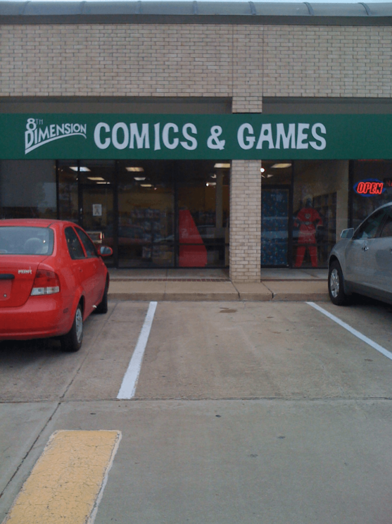 nerdy comic book store in Houston Texas by wedding photographer Swish and Click