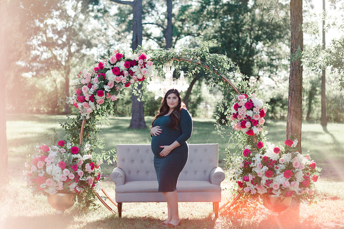 Maternity portrait at Christia V. Adair Park in Houston Texas by Swish and Click Photography