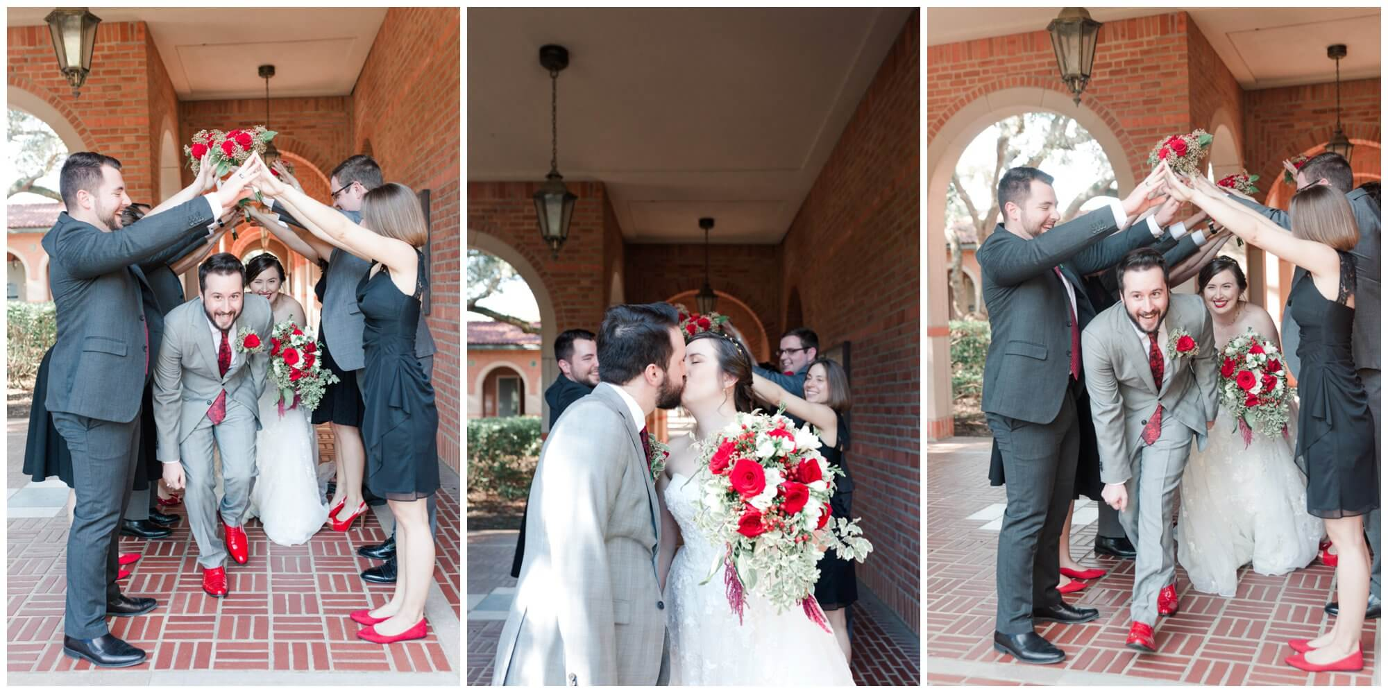 wedding party portraits at Rice University in Houston Texas by Swish and Click Photography