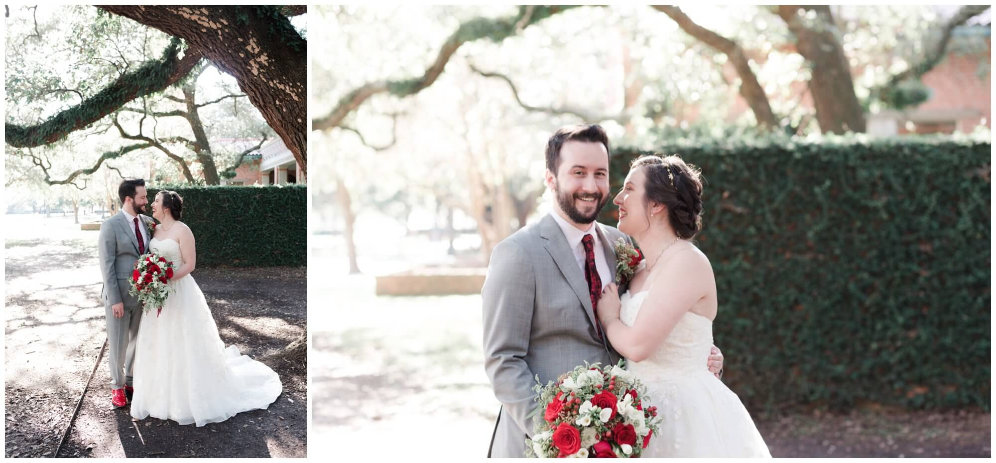 bride and groom portraits at Rice University in Houston Texas by Swish and Click Photography