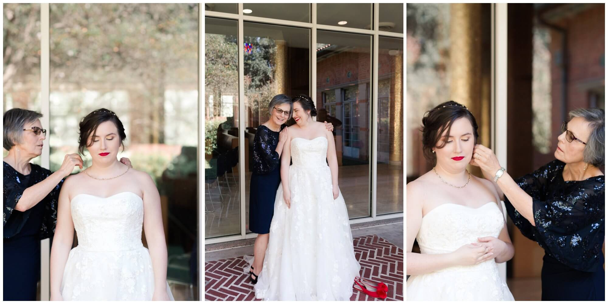 bride getting ready at Rice University in Houston Texas by Swish and Click Photography