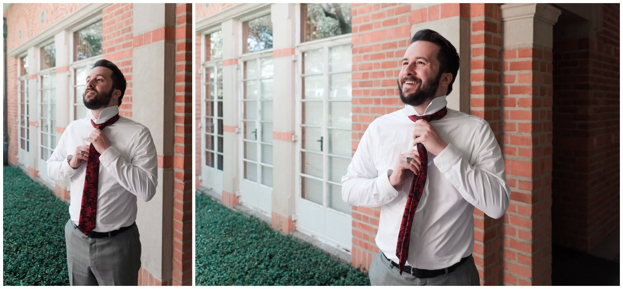 groom getting ready at Rice University in Houston Texas by Swish and Click Photography
