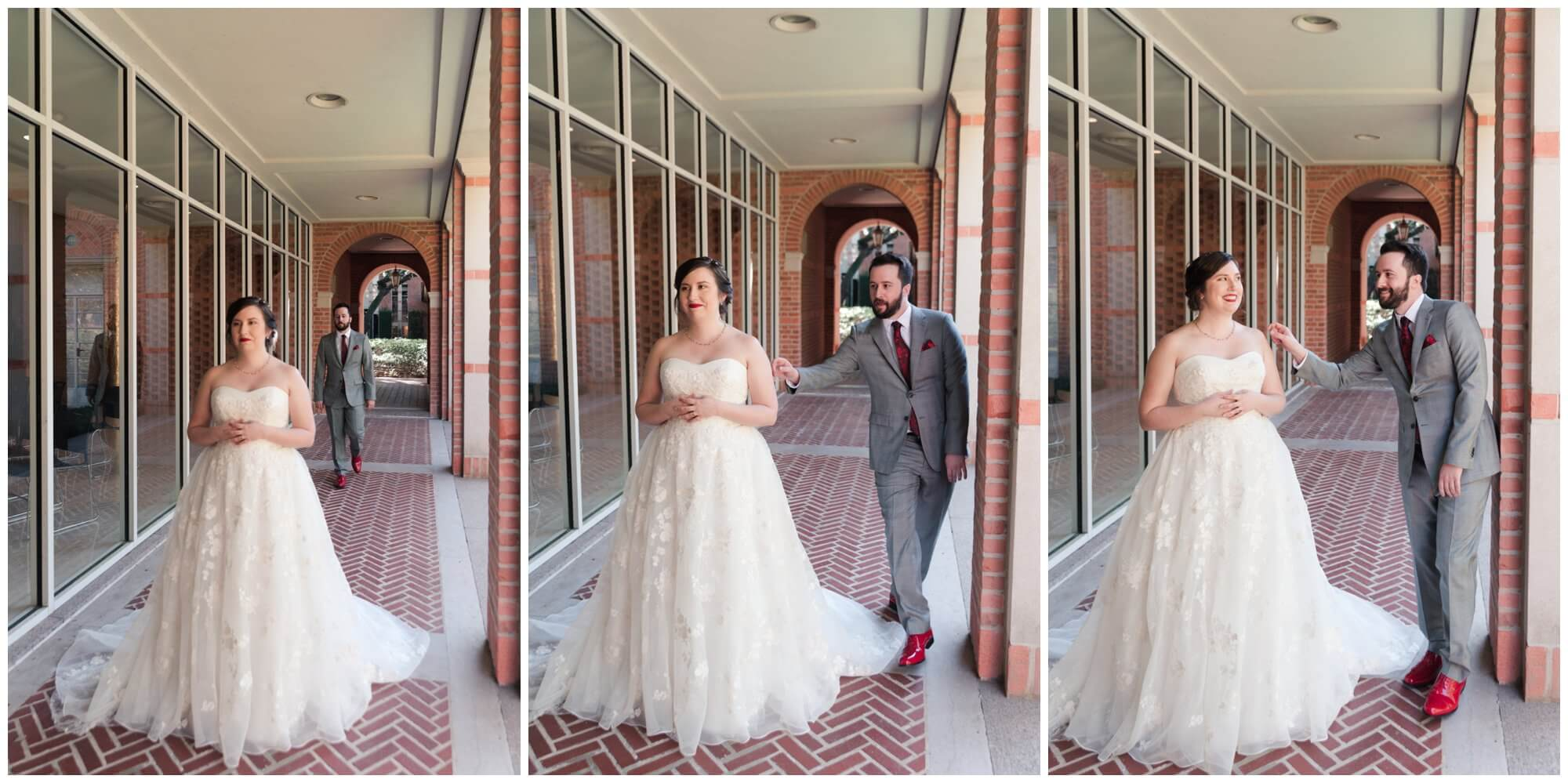 bride and groom first look at Rice University in Houston Texas by Swish and Click Photography