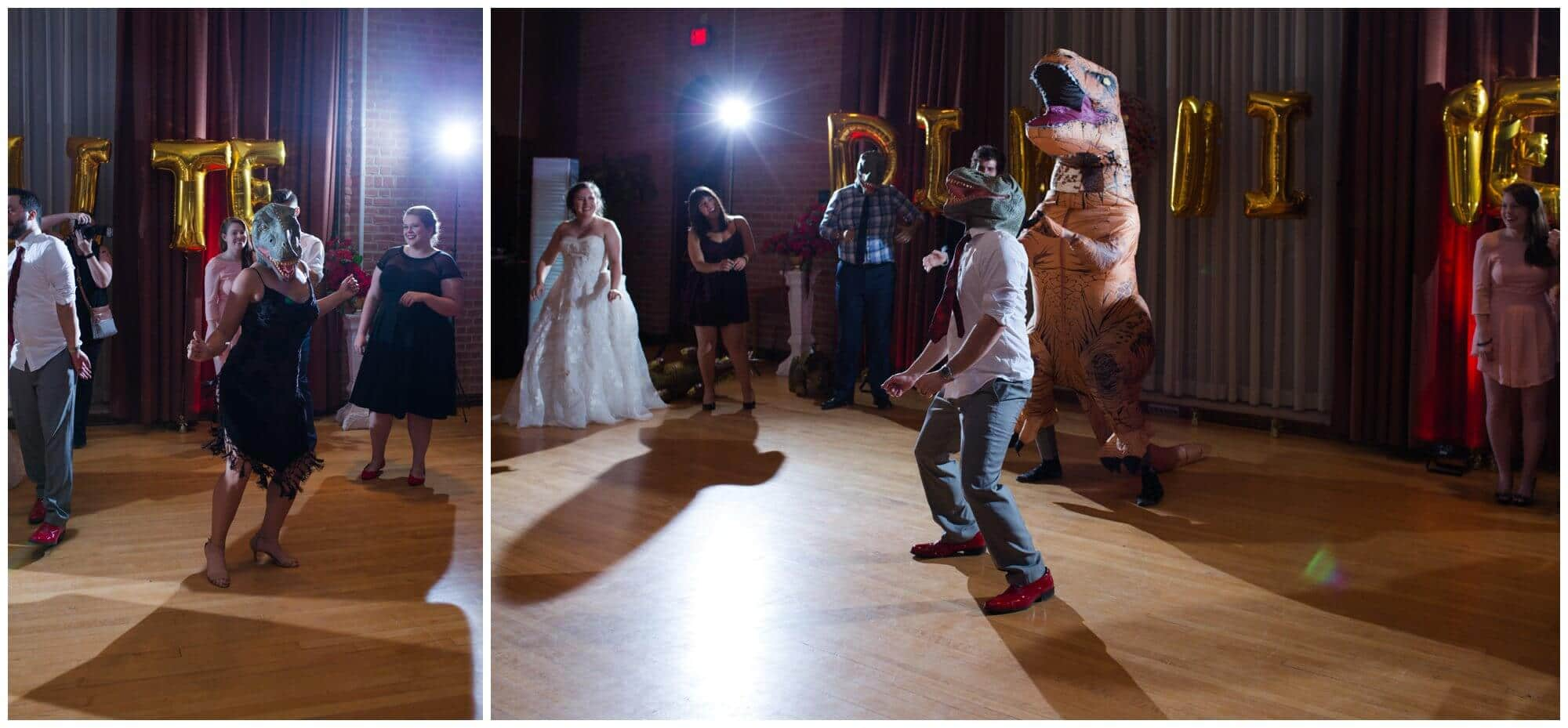 dinosaur themed wedding reception at Rice University in Houston Texas by Swish and Click Photography
