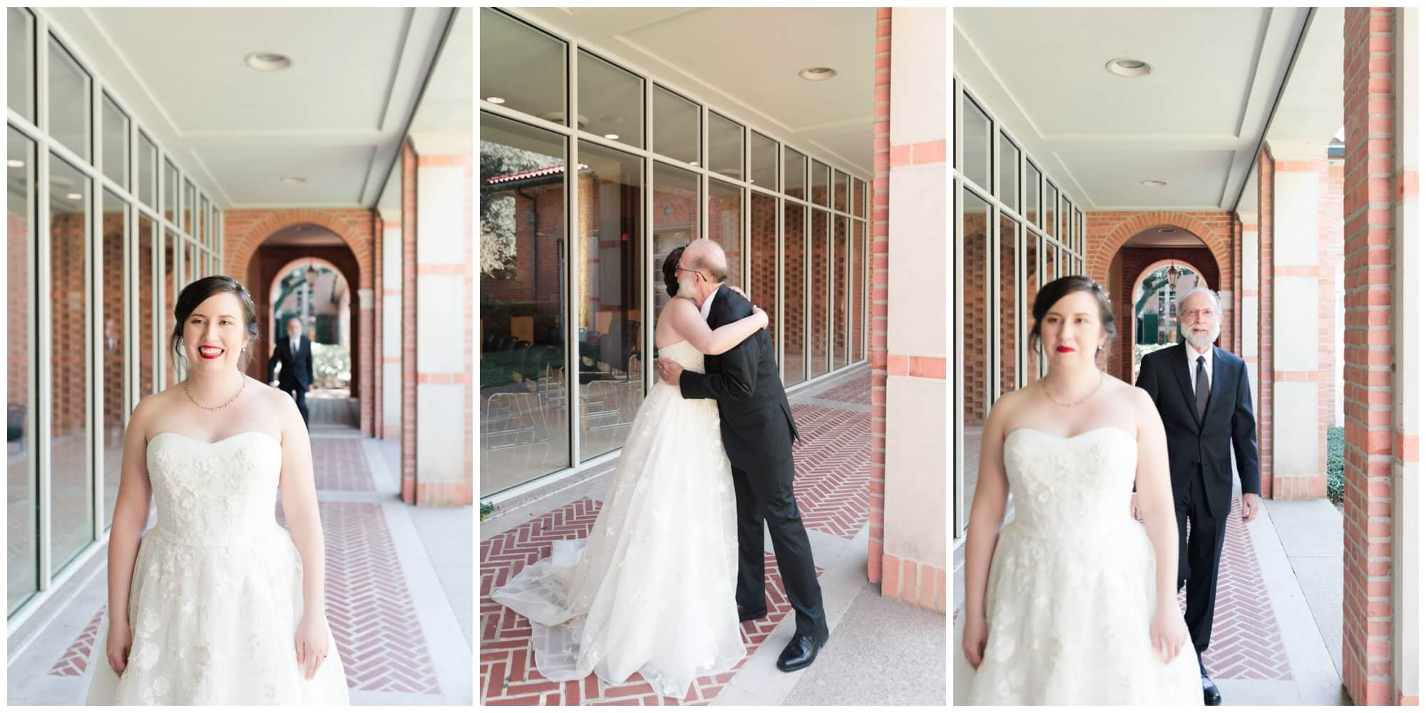 first look with father at Rice University in Houston Texas by Swish and Click Photography