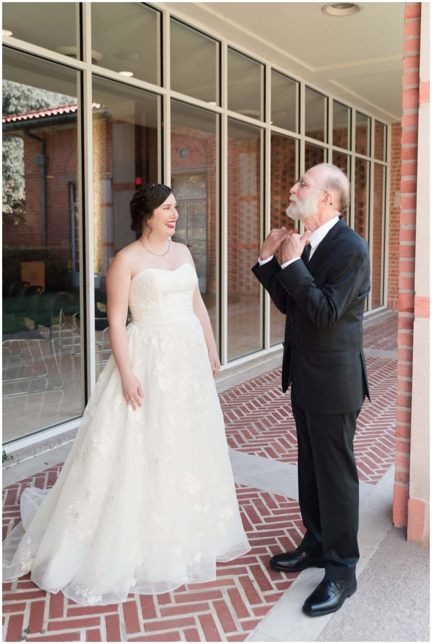 bride first look with father at Rice University in Houston Texas by Swish and Click Photography