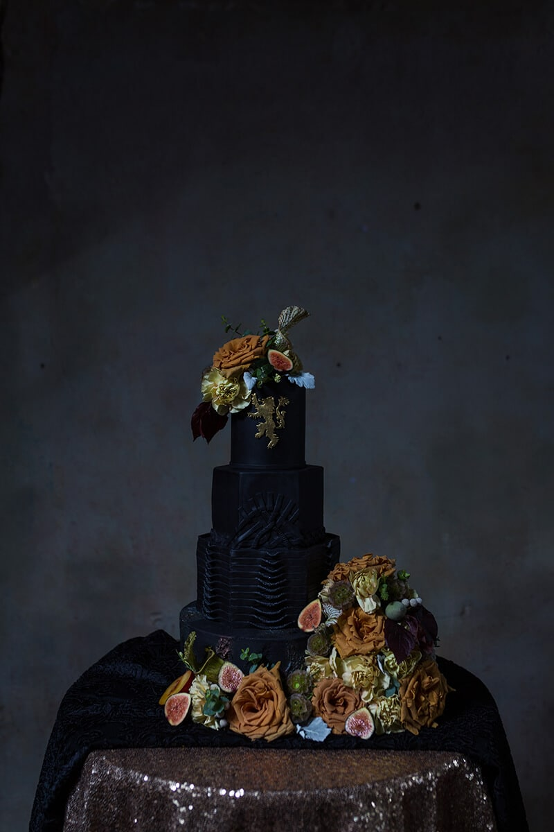 wedding flowers on a cake at Houston Warehouse Studios in Houston Texas by Swish and Click Photography