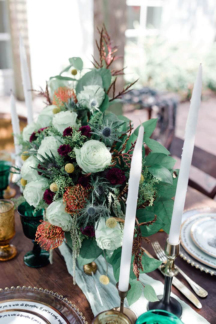 bougie wedding flowers at 5226 Elm Events in Houston Texas by Swish and Click Photography