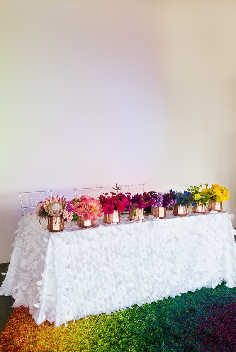 lisa frank rainbow wedding flowers in Houston Texas by Swish and Click Photography