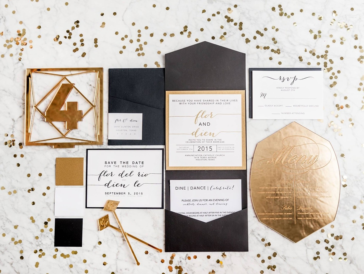 Wedding Invitation suite designed by My Urban Invites in Houston Texas