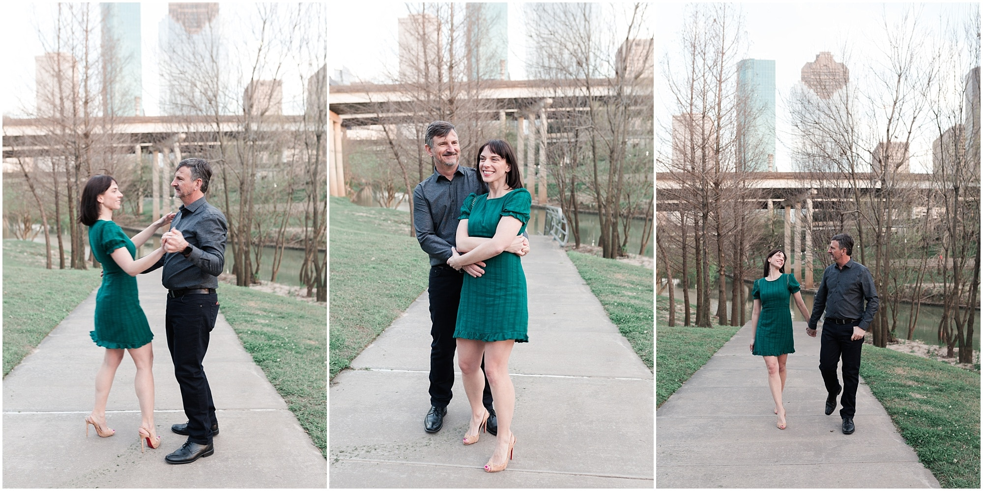 sweet engagement session at Eleanor Tinsley Park in Houston, Texas photographed by Swish and Click Photography