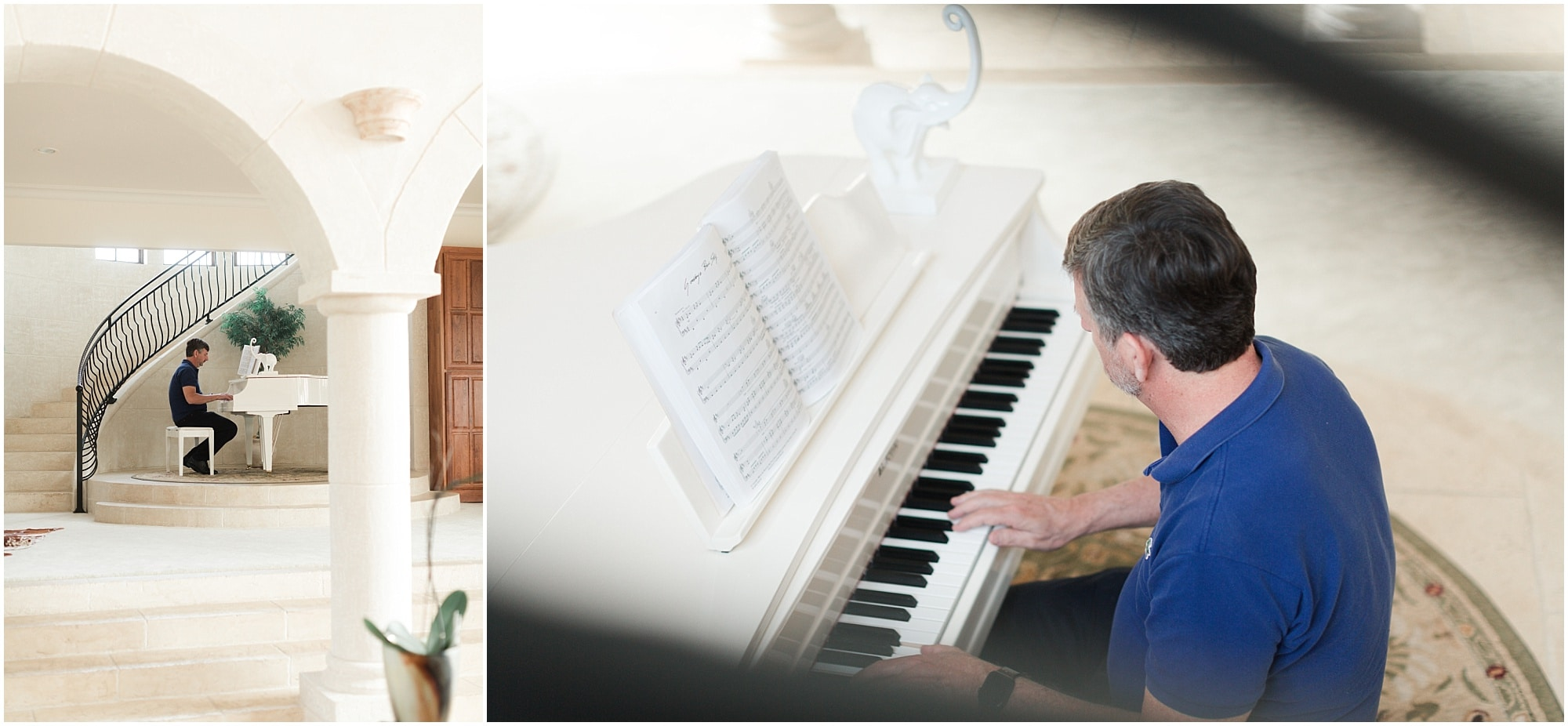 groom playing the piano