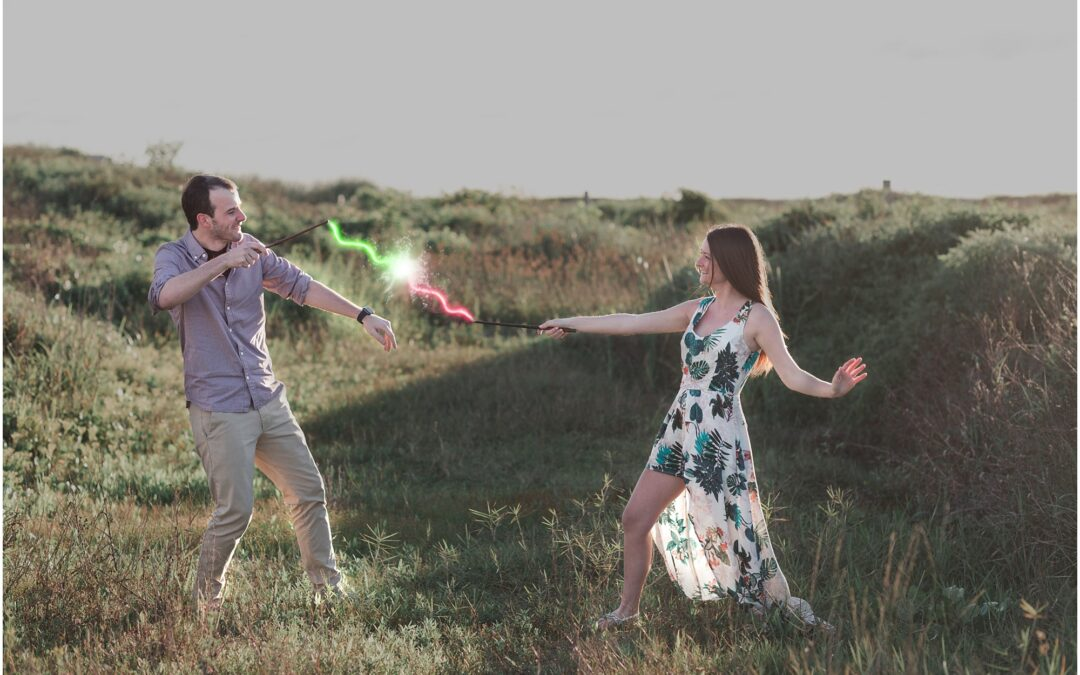 Harry Potter Engagement Session in Galveston | Taylor + Andrew