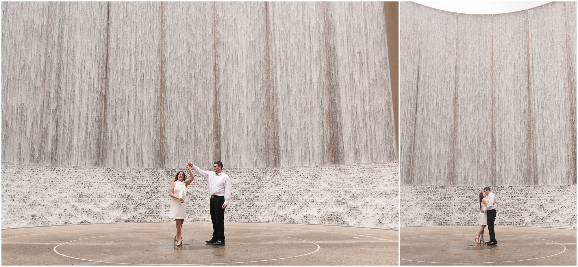 romantic engagement session at the water wall in Houston, Texas photographed by Swish and Click Photography
