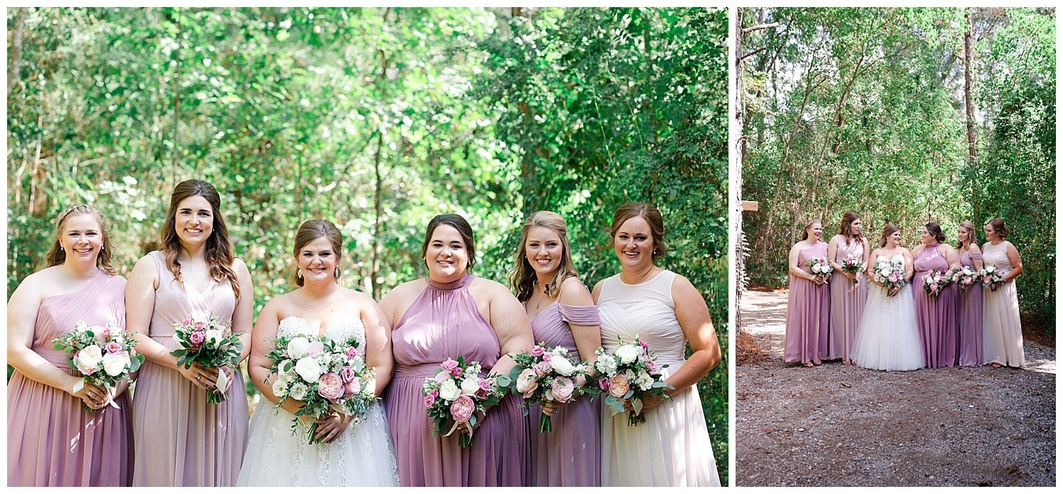 bridal party portraits at Magnolia Bells wedding venue photographed by Swish and Click Photography
