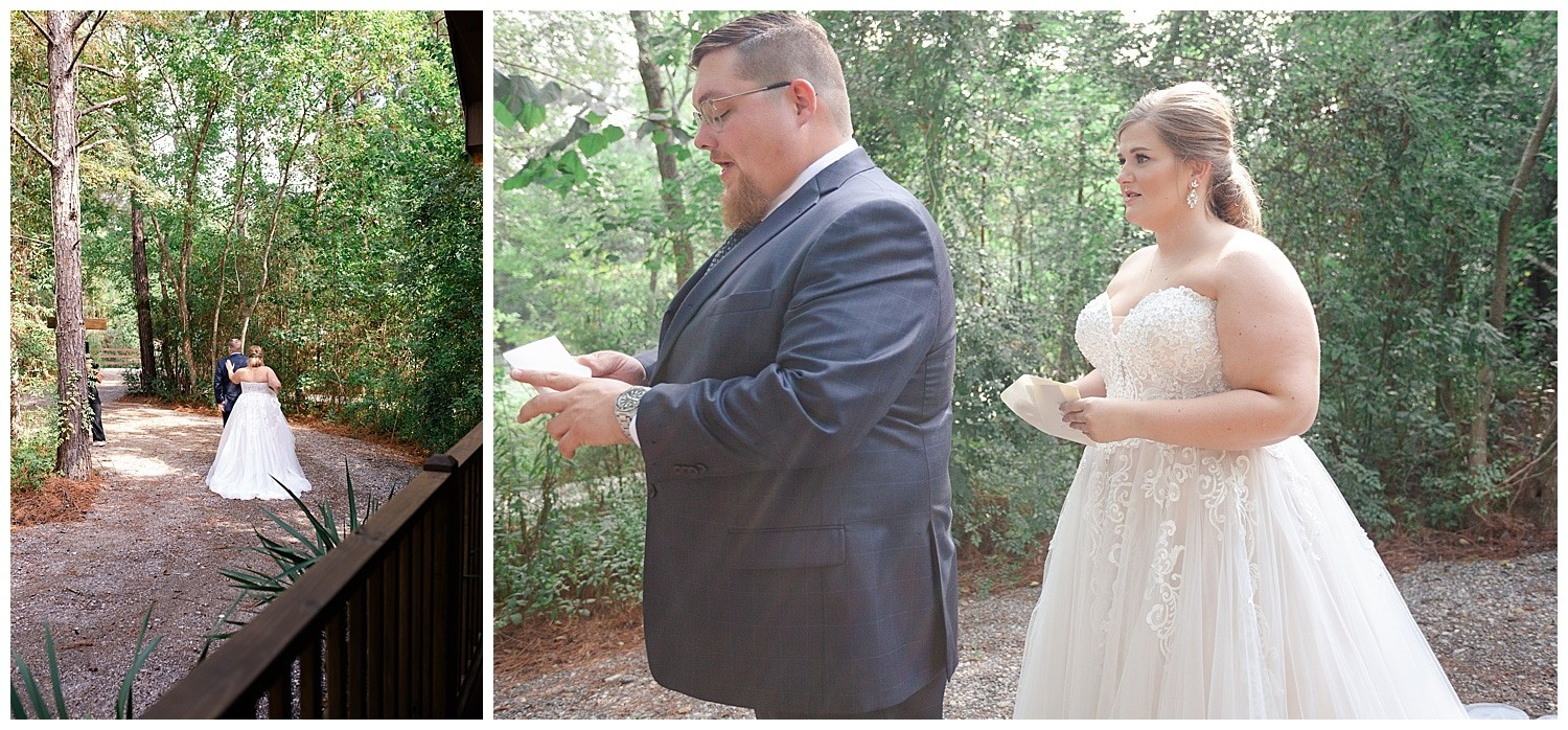 wedding couple first look at Magnolia Bells wedding venue photographed by Swish and Click Photography